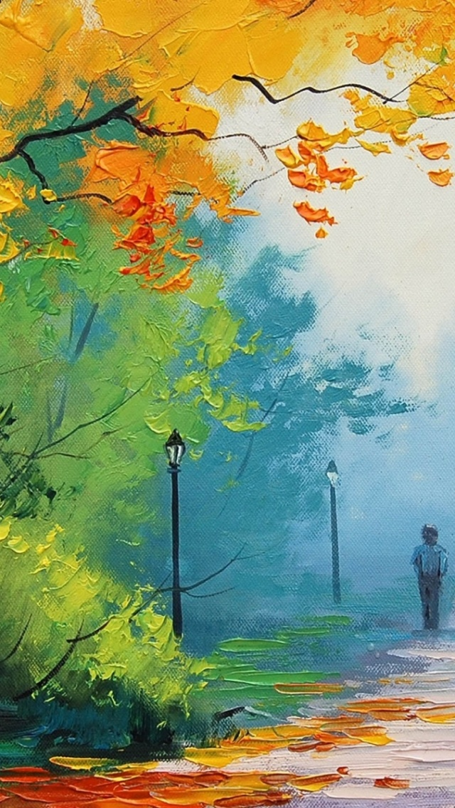 Cell Phone Fall Wallpaper 640x1136 Autumn Painting Couple Iphone 5 Wallpaper