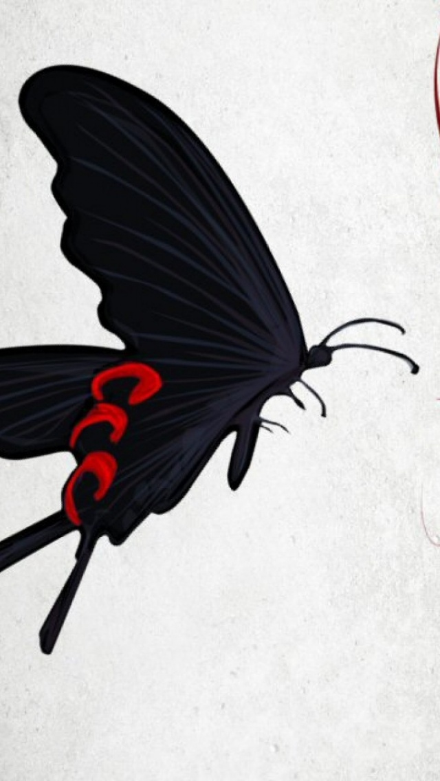 Wallpaper Iphone X Black 640x1136 Black Butterfly Amp Red Flower Iphone 5 Wallpaper
