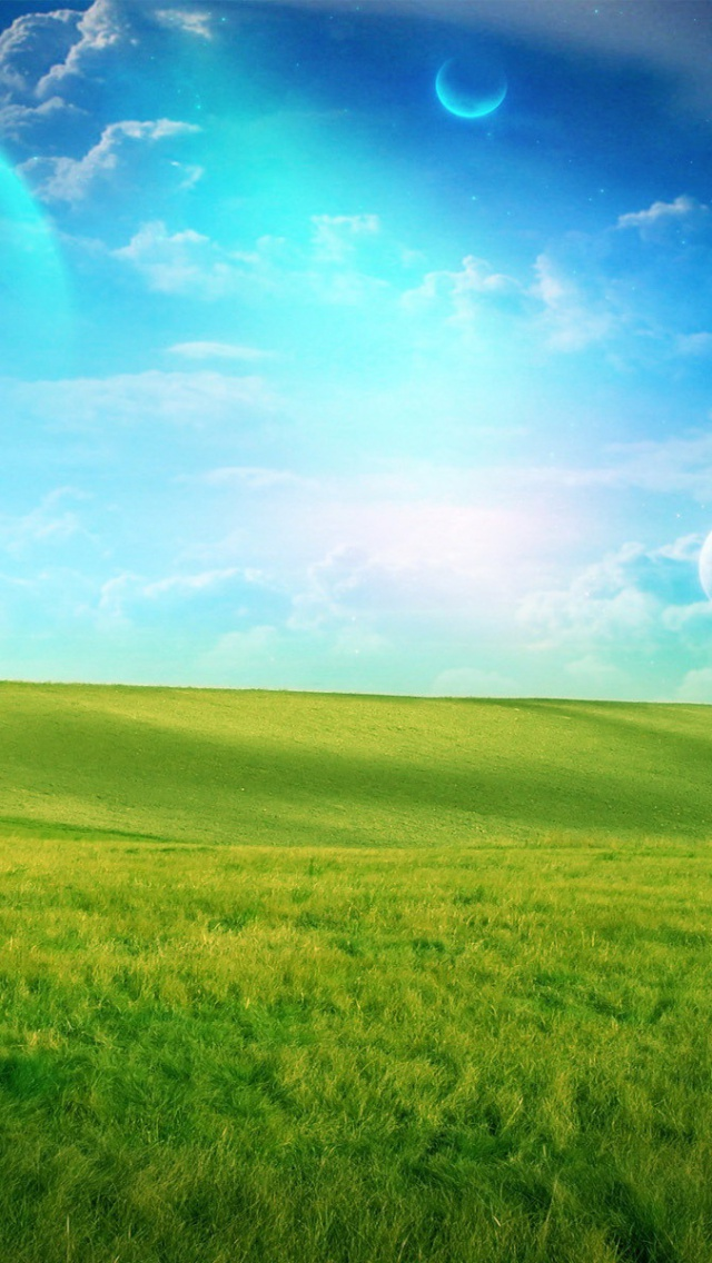 Green Wallpaper Iphone X 640x1136 Blue Sky Grass Field Planets Iphone 5 Wallpaper