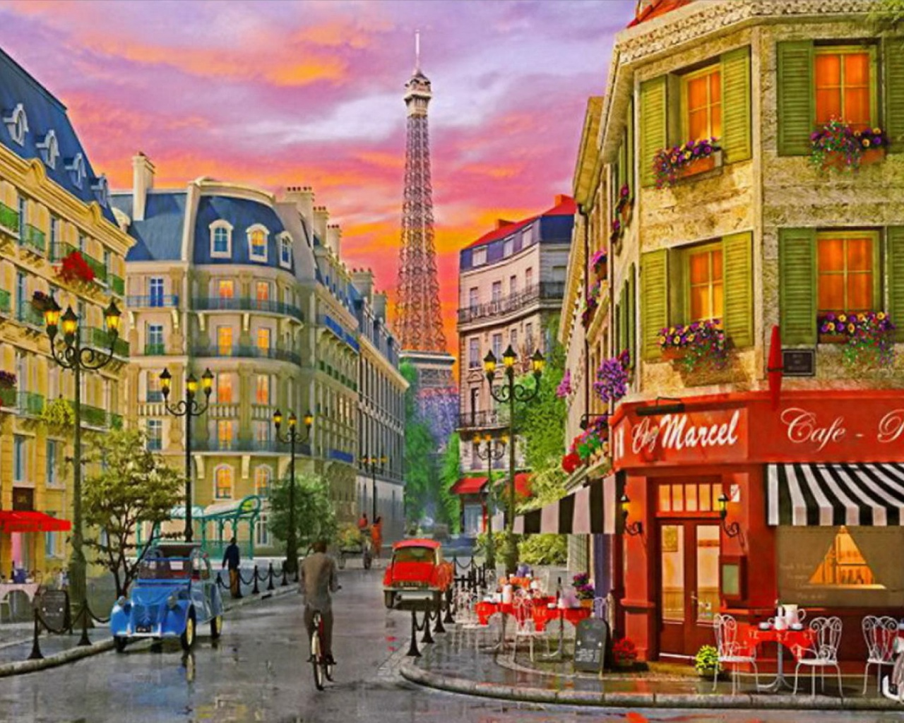 Hd Painting Wallpapers Download 1280x1024 Cafe Restaurant Eiffel Tower Desktop Pc And Mac