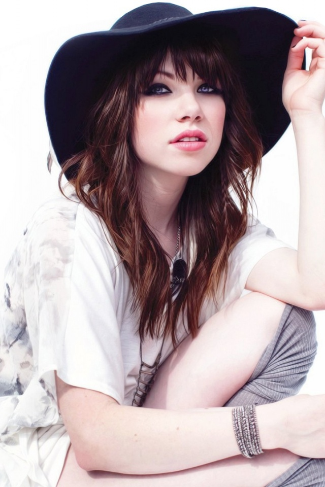 640x960 Hd Wallpapers 640x960 Carly Rae Jepsen Black Hat Iphone 4 Wallpaper