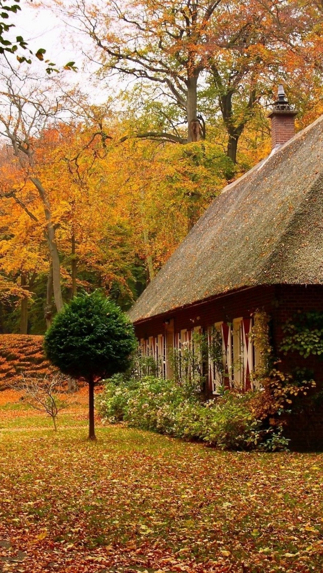 Desktop Wallpaper Fall Scenes 640x1136 Country House In Autumn Iphone 5 Wallpaper