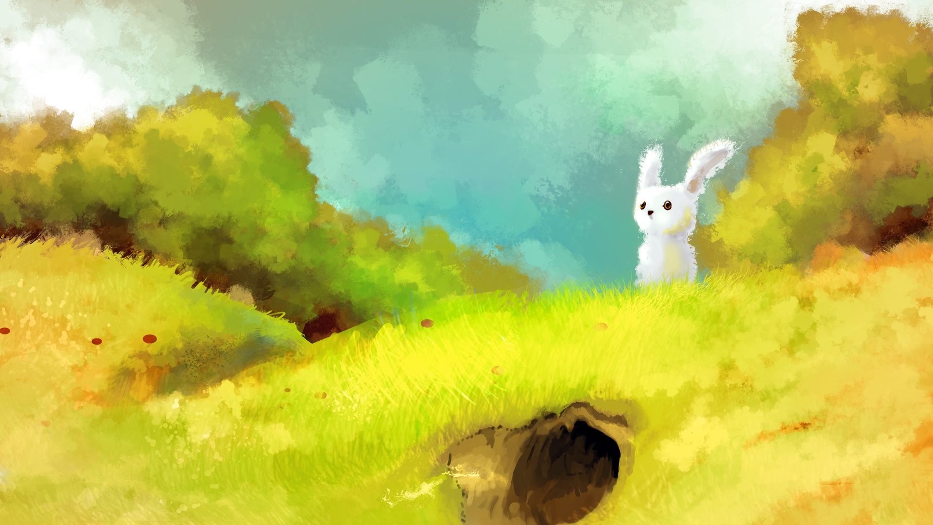Download Cute Wallpapers For Pc 1920x1080 Cute Bunny Hill Burrow Trees Desktop Pc And Mac