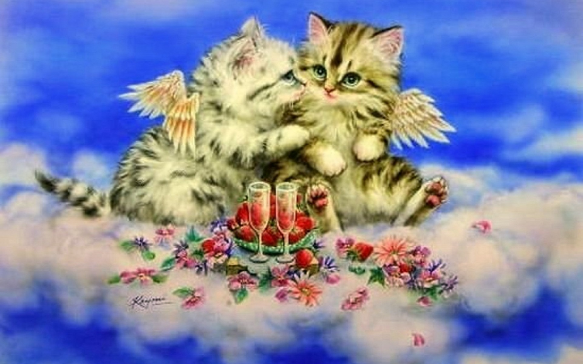 3d Fish Wallpaper Hd Cute Kittys Heavenly Romantic Wallpapers Cute Kittys