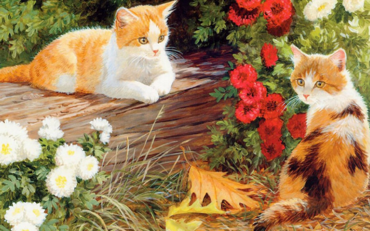 Download Cute Wallpapers For Pc 1280x800 Cute Kittys White Amp Red Floral Desktop Pc And Mac
