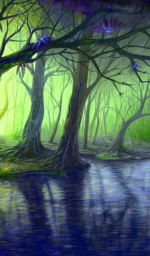 Wallpaper Blue Iphone X 600x1024 Enchanted Forest Amp Blue Stream Galaxy Tab 2 Wallpaper