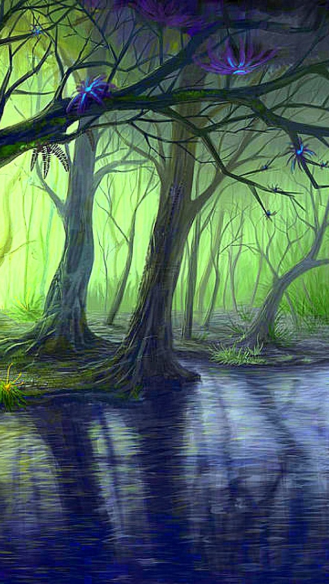 Wallpaper Blue Iphone X 640x1136 Enchanted Forest Amp Blue Stream Iphone 5 Wallpaper