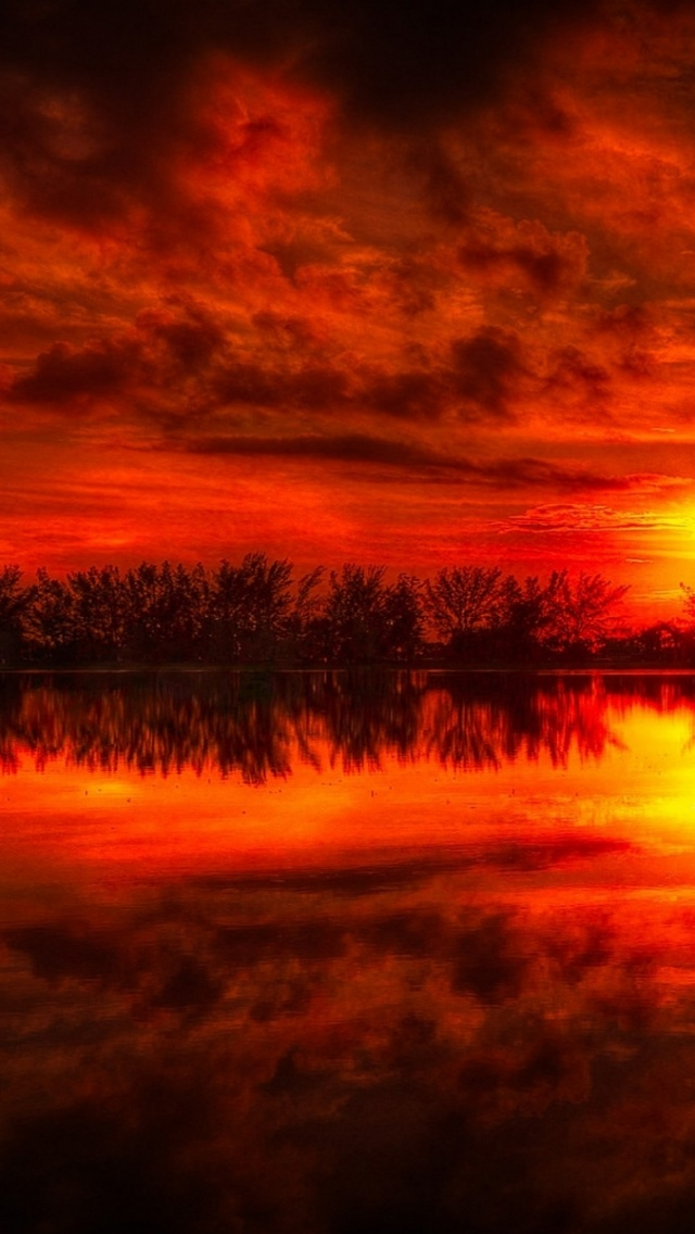 Iphone 6s Plus Wallpaper Hd 640x1136 Fire Red Sunset Reflection Sea Iphone 5 Wallpaper