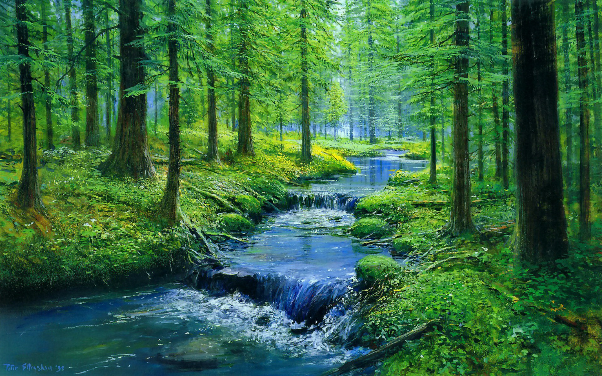 Animated Wallpaper For Tablet Forest Blue Creek Waterfalls Wallpapers Forest Blue