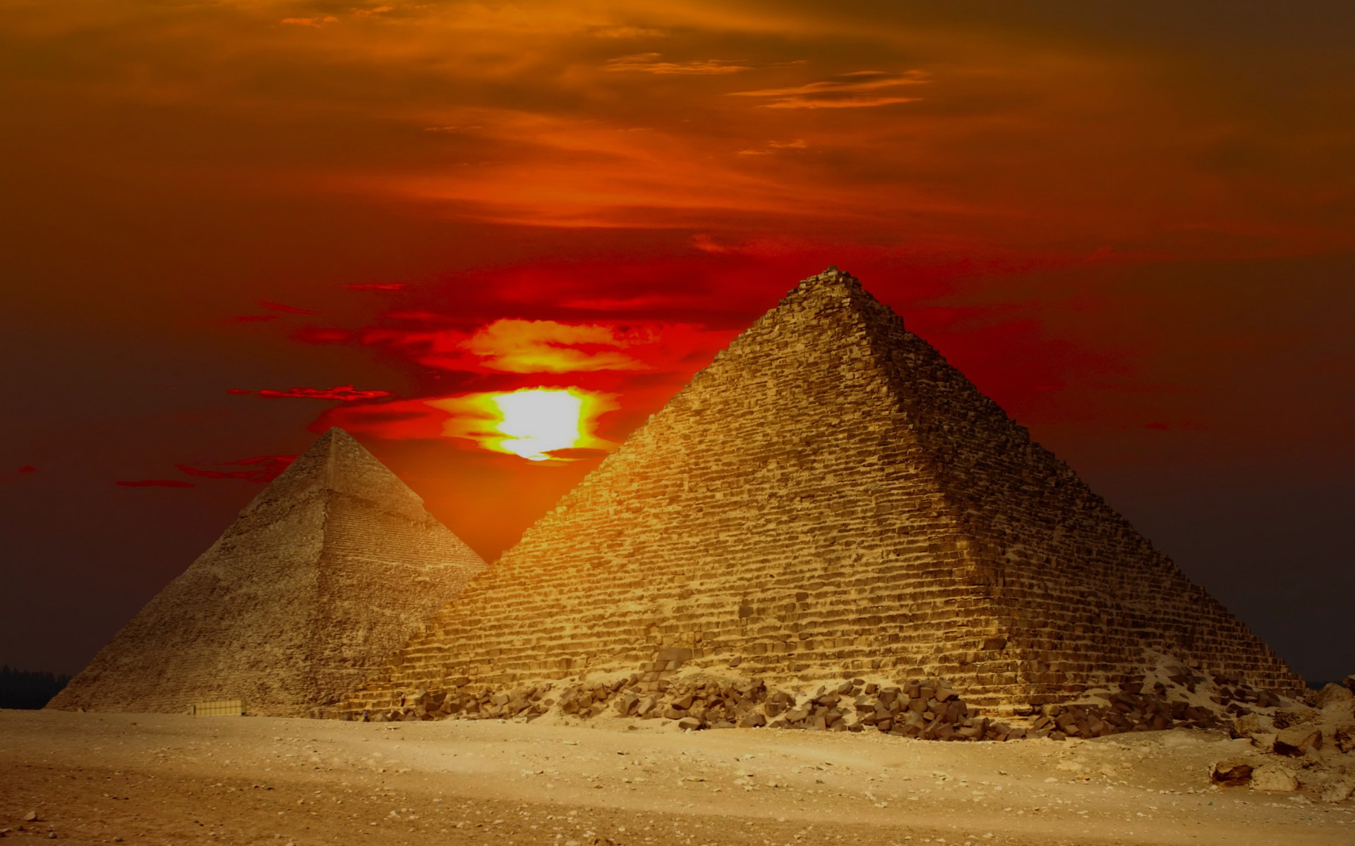 Animated Waterfall Wallpapers For Mobile Giza Pyramids Egypt Red Sunset Wallpapers Giza Pyramids
