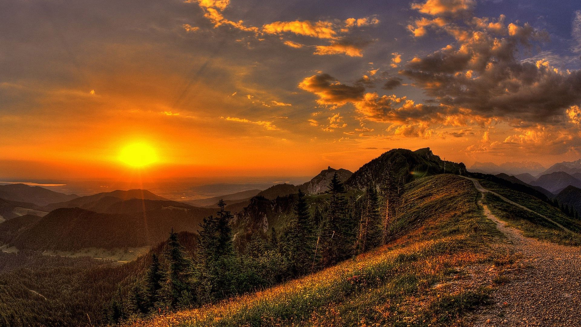 Serene Wallpapers Large Fall 1920x1080 Golden Sunset Mountains Path Desktop Pc And Mac