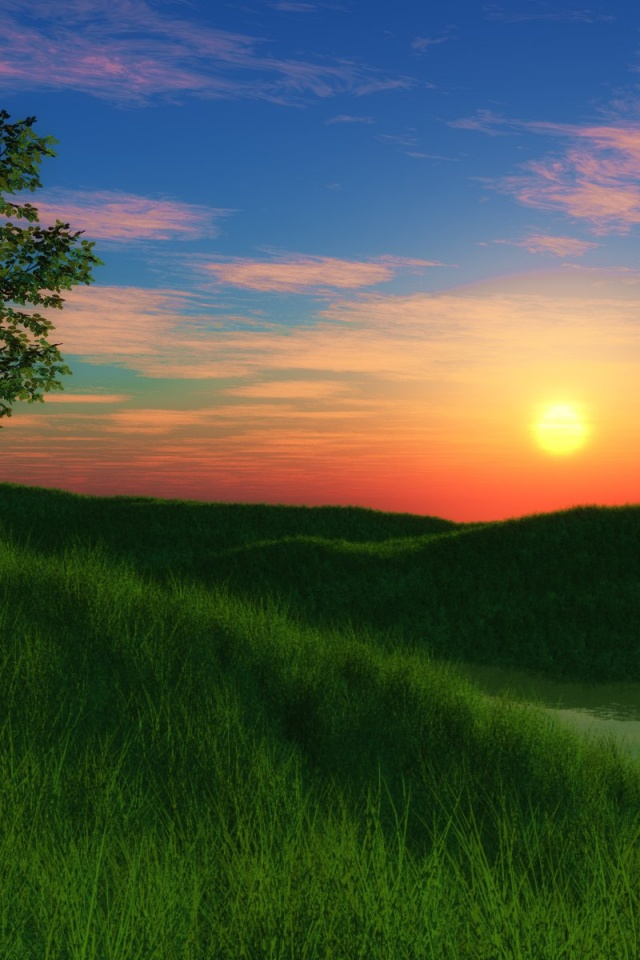 How To Set Wallpaper On Iphone X 640x960 Grassy Hill Sunset Iphone 4 Wallpaper