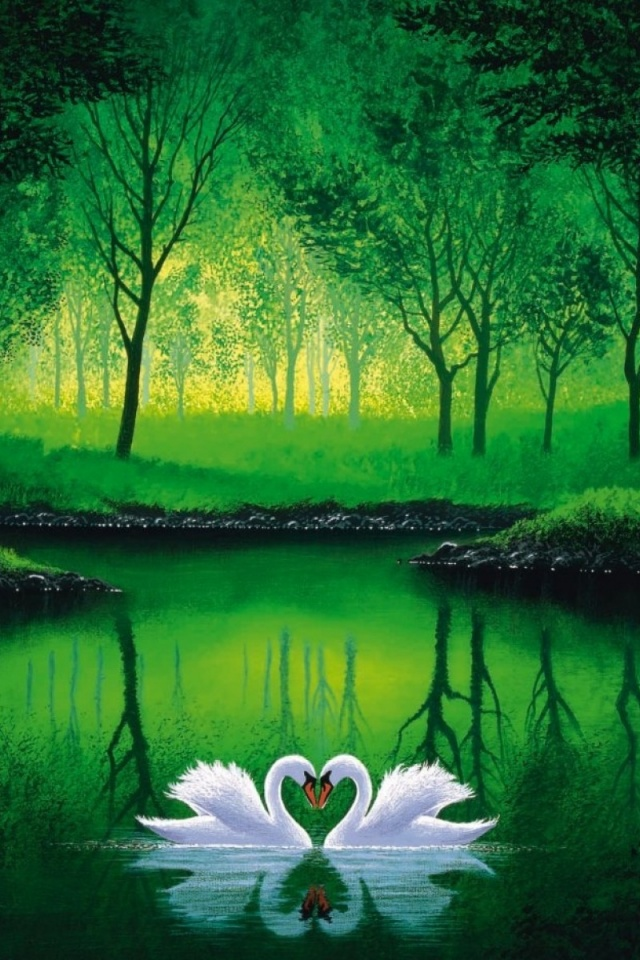 Green Wallpaper Iphone X 640x960 Green Forest Pond Swans Couple Iphone 4 Wallpaper