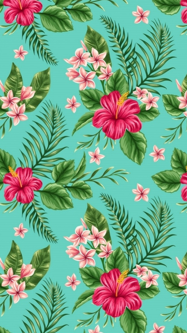 Floral Wallpaper For Iphone 5 640x1136 Hibiscus Pattern Desktop Pc And Mac Wallpaper