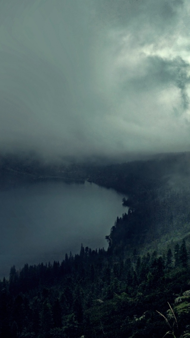 640x1136 hilly dark forest river amp fog iphone 5 wallpaper