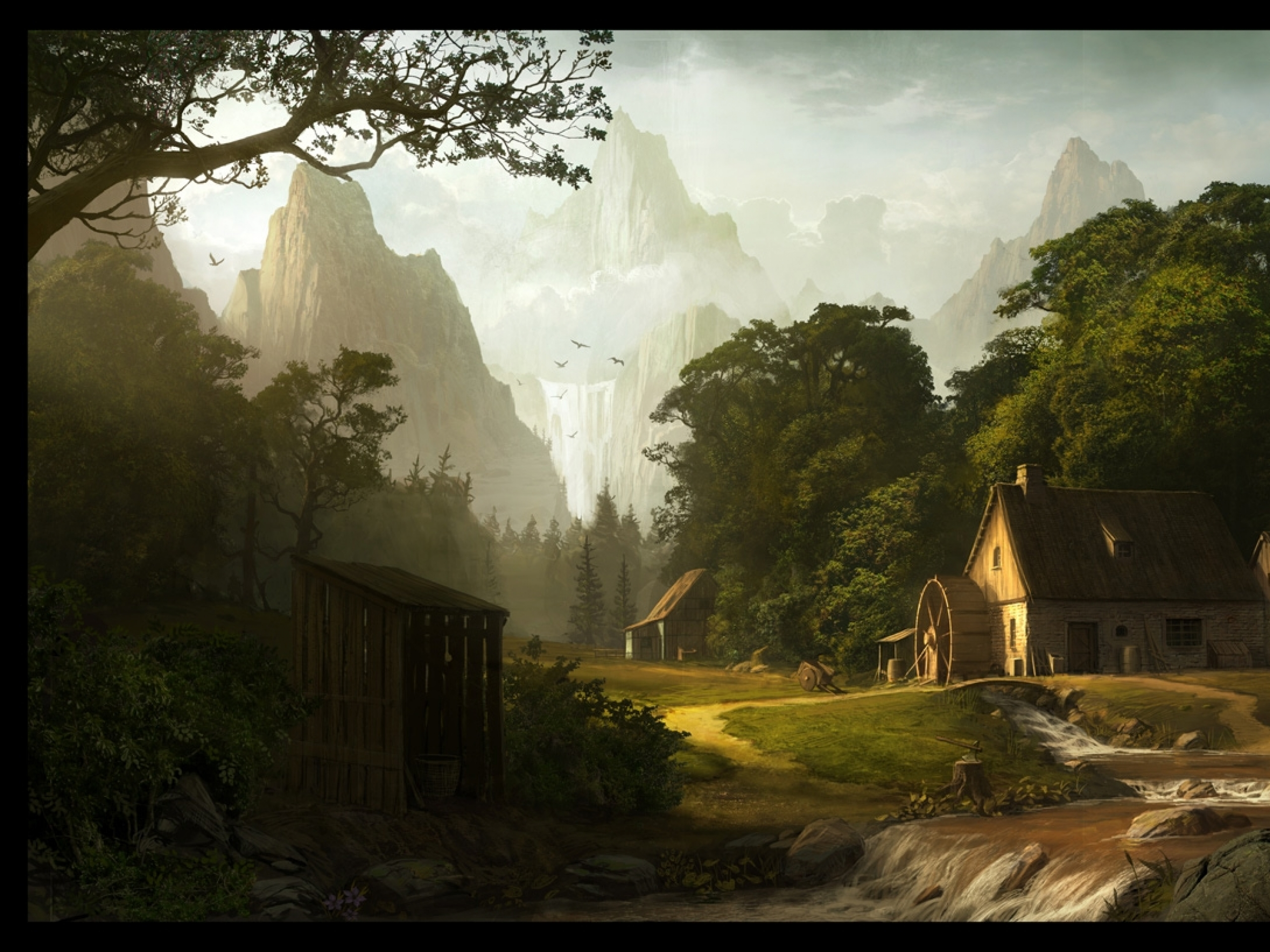 Animated Sunset Wallpaper Houses Mill Amp Scenery Artwork Wallpapers Houses Mill