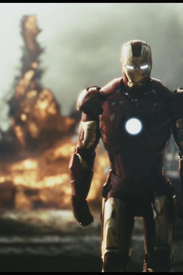 Iphone X Wallpaper Stock Hd 640x960 Ironman Explosion Iphone 4 Wallpaper