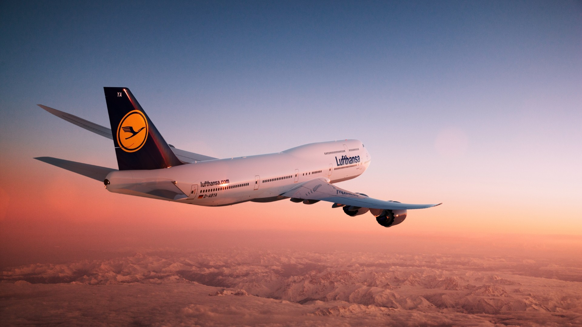 Os X Wallpapers Hd 1920x1080 Lufthansa Boeing 747 8i At Sunset Desktop Pc And