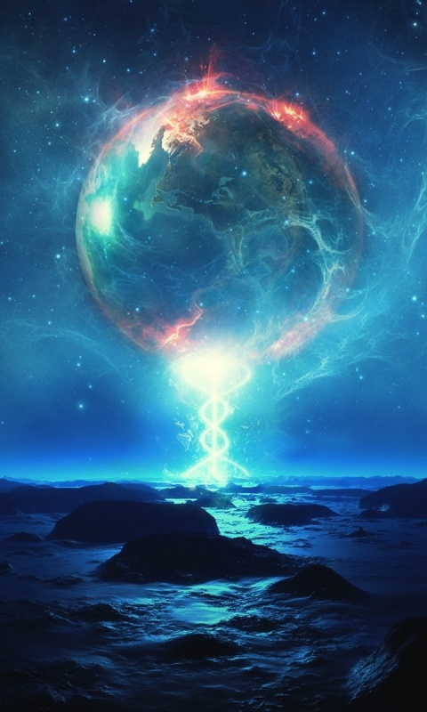 Futuristic Iphone X Wallpaper 480x800 Magical Planets Ocean Rocks Galaxy S2 Wallpaper