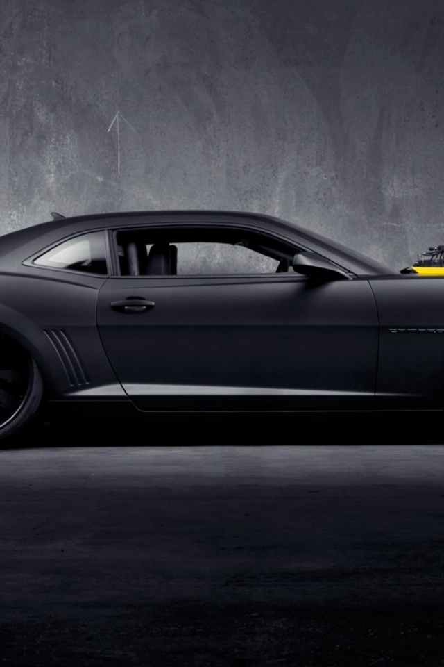 Best Black Wallpaper For Iphone 640x960 Matte Black Chevrolet Camaro Ss Iphone 4 Wallpaper