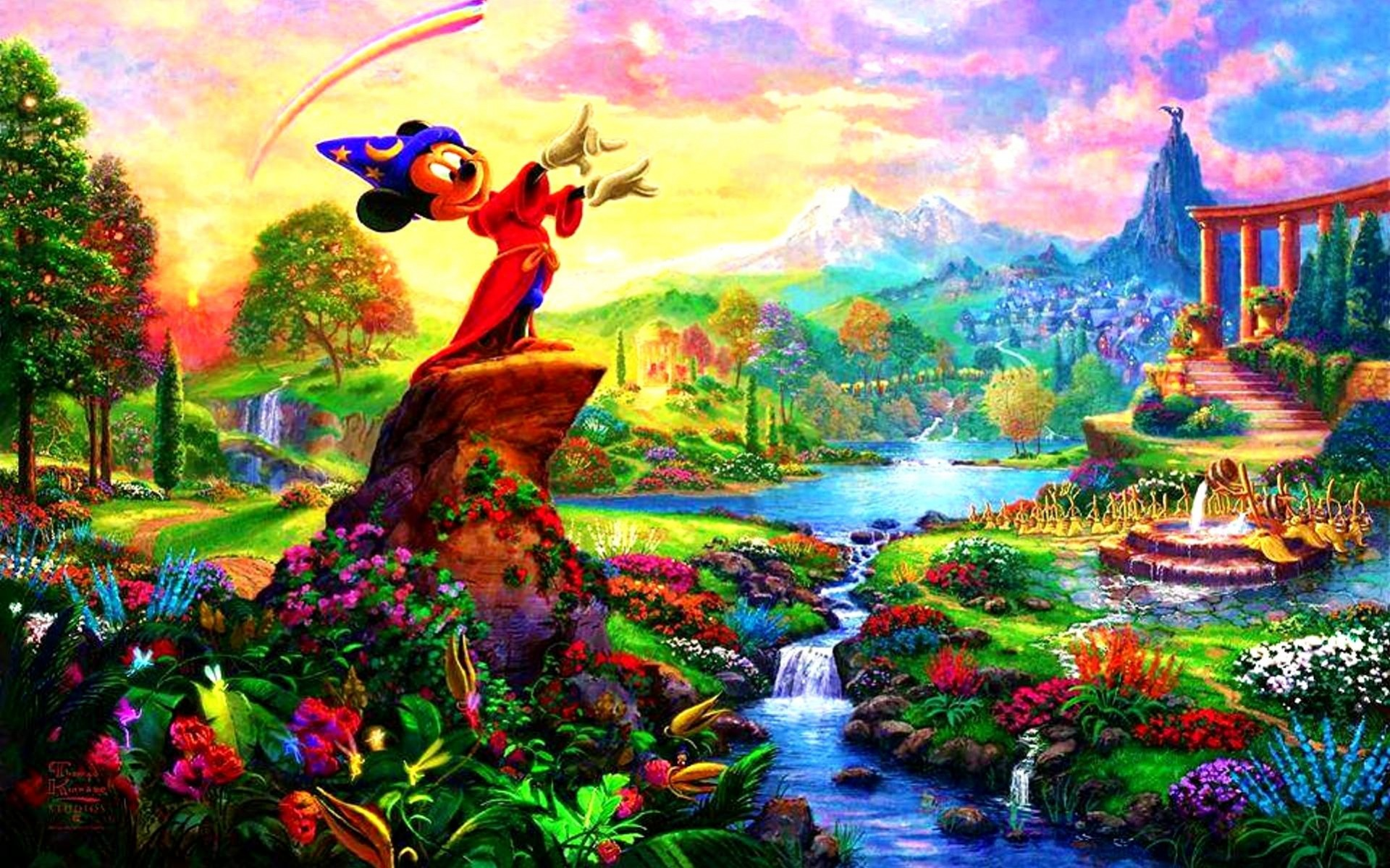 3d Mushroom Garden Wallpaper Mickey Mouse Fantasia Magical Wallpapers Mickey Mouse