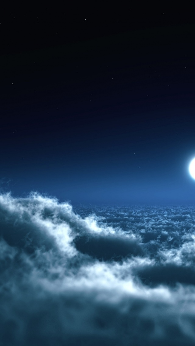 Samsung Galaxy Wallpaper Hd 640x1136 Moon Amp Stunning Cloud Sea Iphone 5 Wallpaper