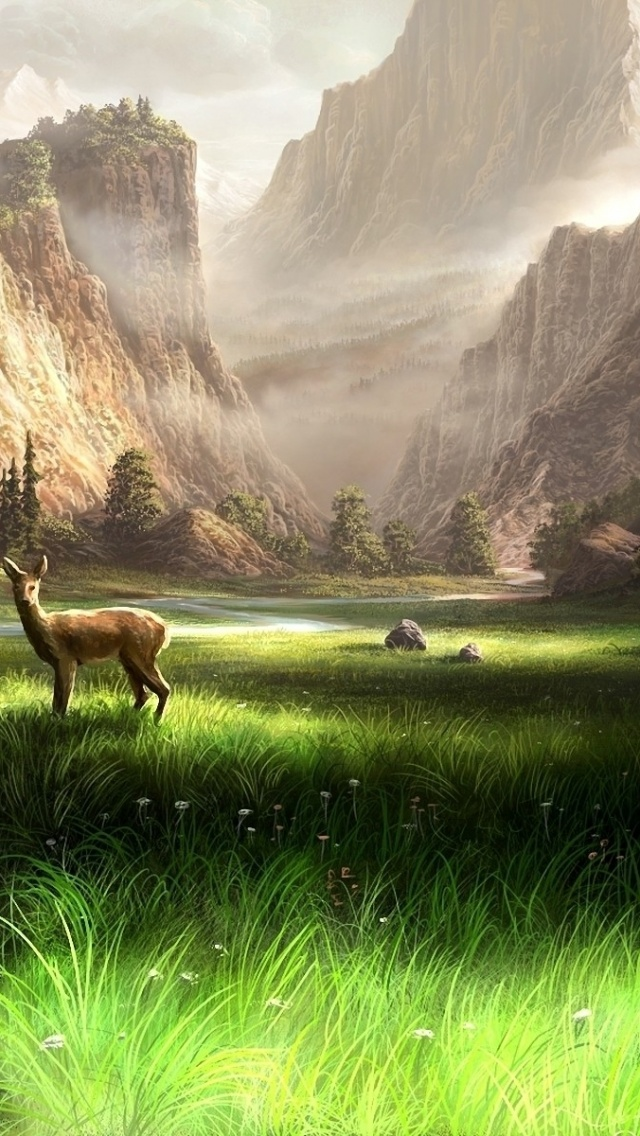 Mountain Iphone Wallpaper 640x1136 Mountains Grass River Deer Iphone 5 Wallpaper