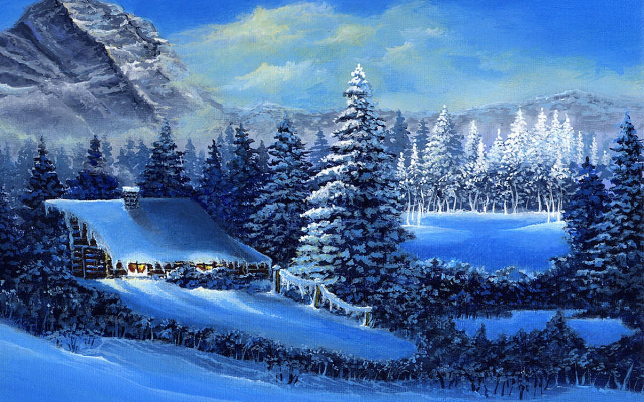 3d Snowy Cottage Animated Wallpaper Free Download Mountains Lodge Snow Forest Wallpapers Mountains Lodge