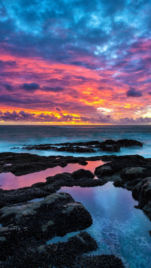 640x1136 ocean black rocks amp pink sky iphone 5 wallpaper