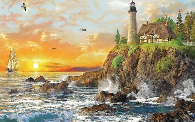 Ocean Cliff Light House Sunset wallpapers | Ocean Cliff Light House Sunset stock photos