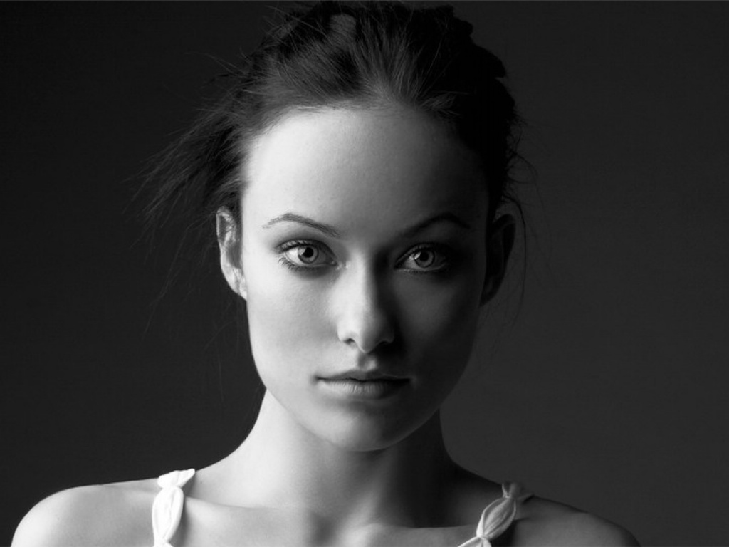 Black And White Home Wallpaper 1024x768 Olivia Wilde Black And White Portrait Desktop Pc