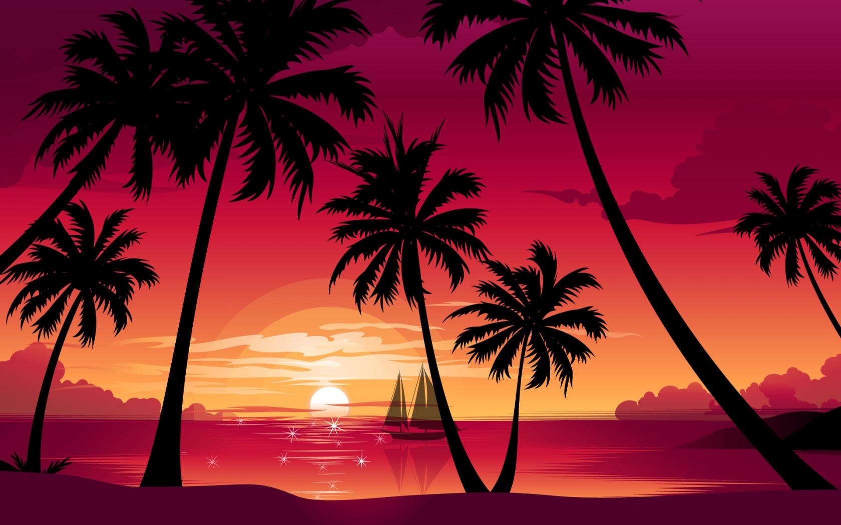Good Evening Hd Wallpaper 3d Palms And Purple Sky Wallpapers Palms And Purple Sky