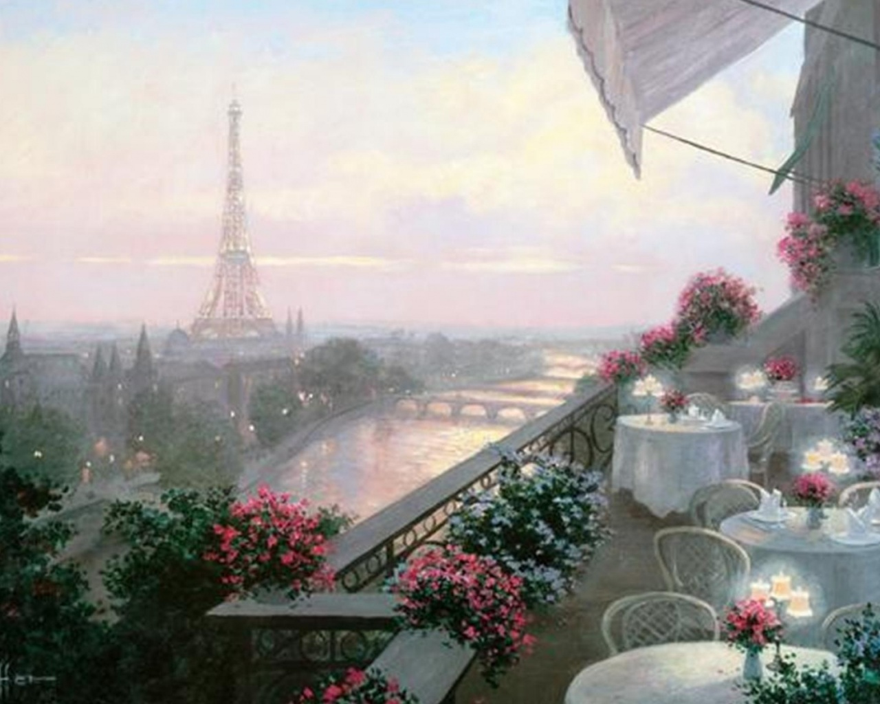 Fall Wallpapers Pc 1280x1024 Parisian Cafe Eiffel Tower Desktop Pc And Mac