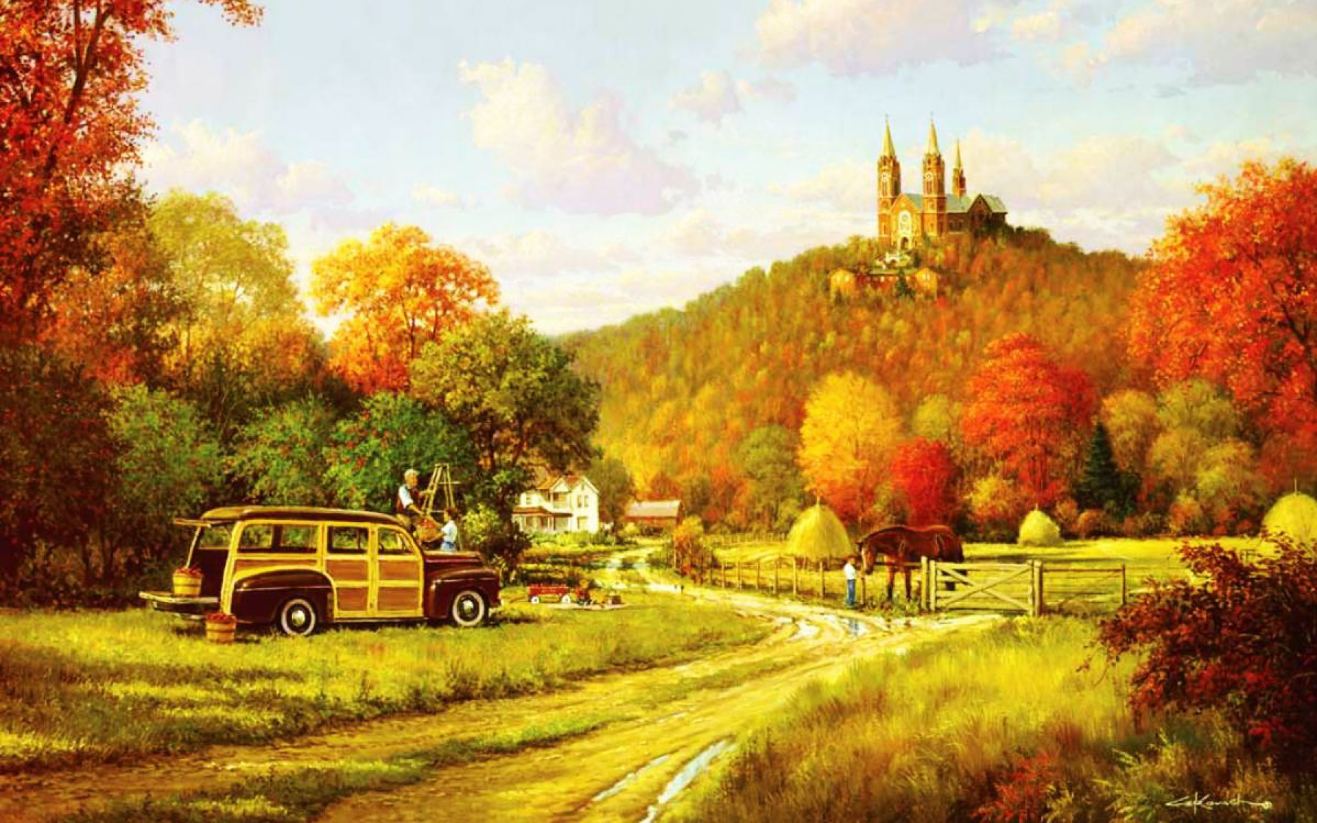 Fall Harvest Wallpaper 1920x1200 People Car Crop Church Autumn Desktop Pc And Mac