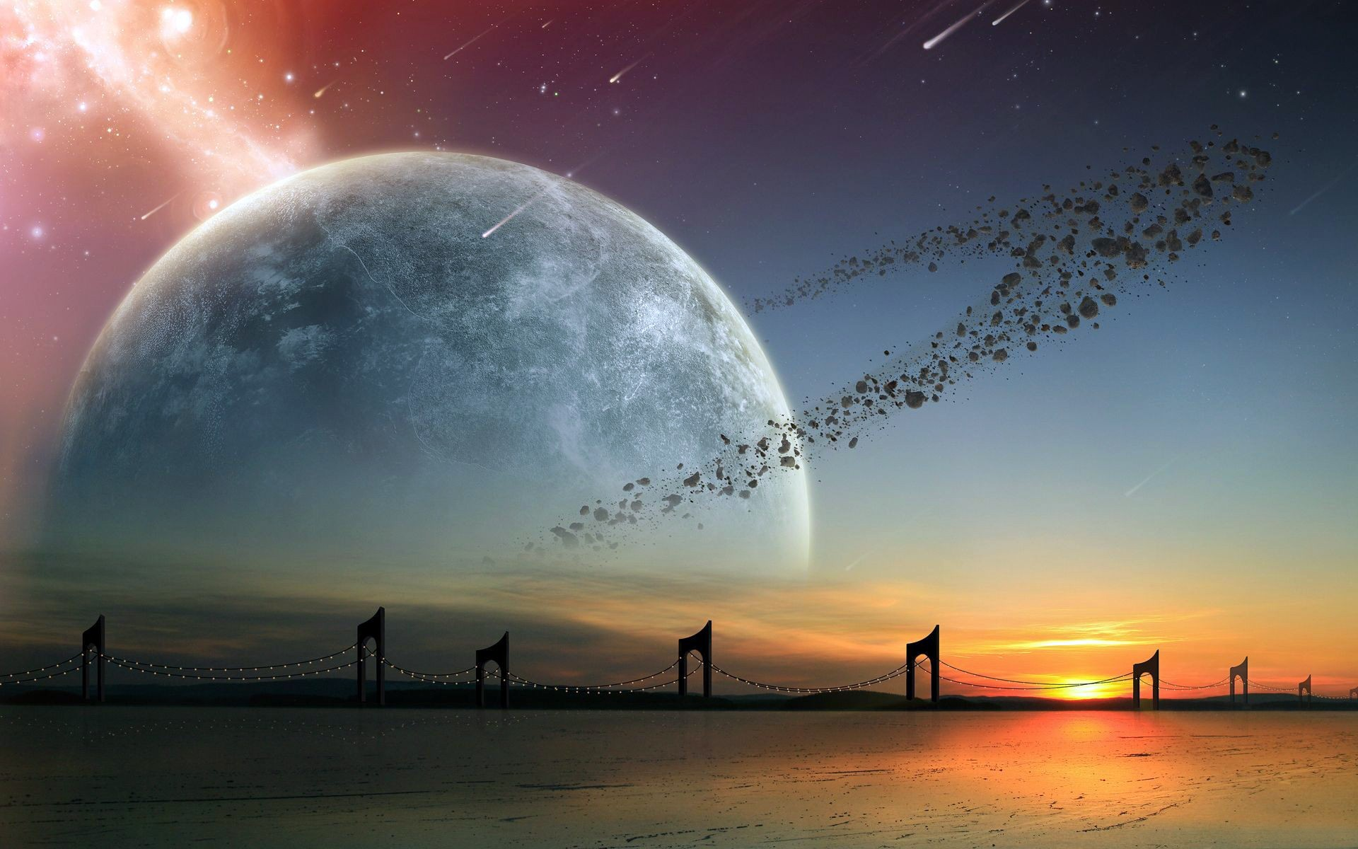 3d Asteroid Wallpaper Planet Asteroids Ocean Bridge Wallpapers Planet