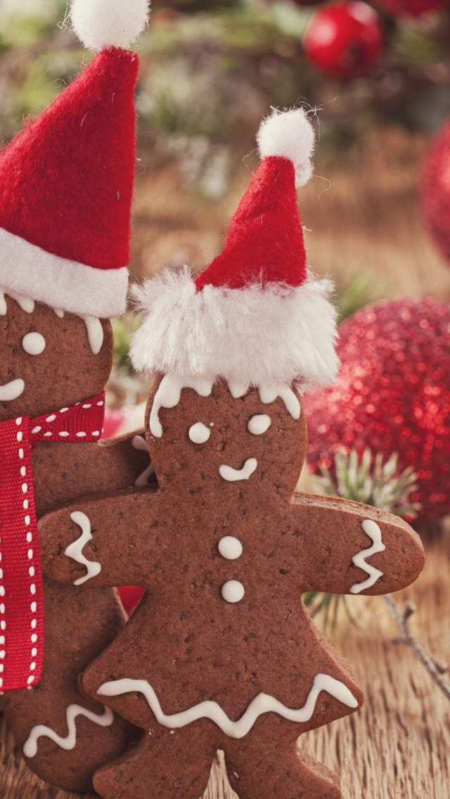 Iphone Wallpaper Hd Red 640x1136 Playful Sweet Christmas Cookies Iphone 5 Wallpaper