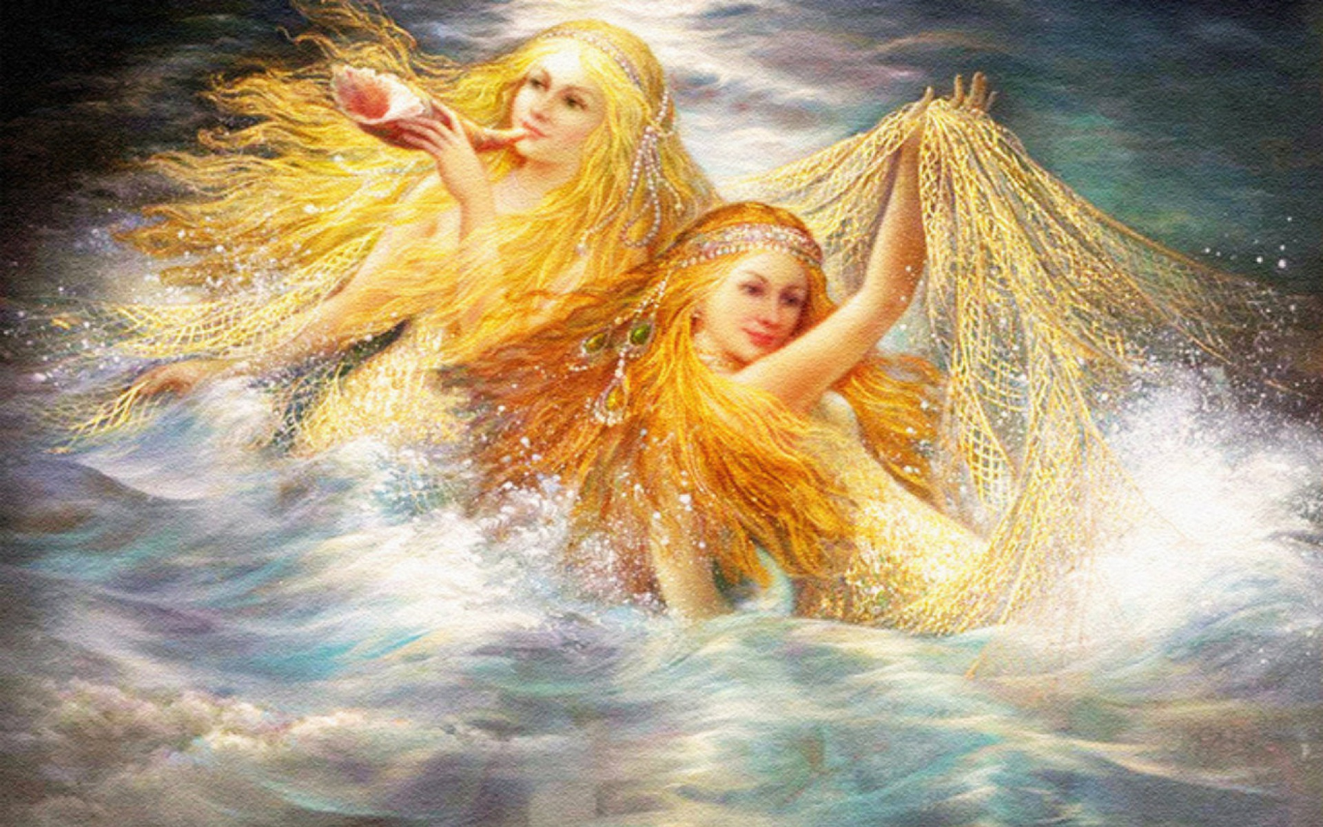 Thanksgiving 3d Wallpaper For Pc Pretty Mermaids Golden Hair Wallpapers Pretty Mermaids