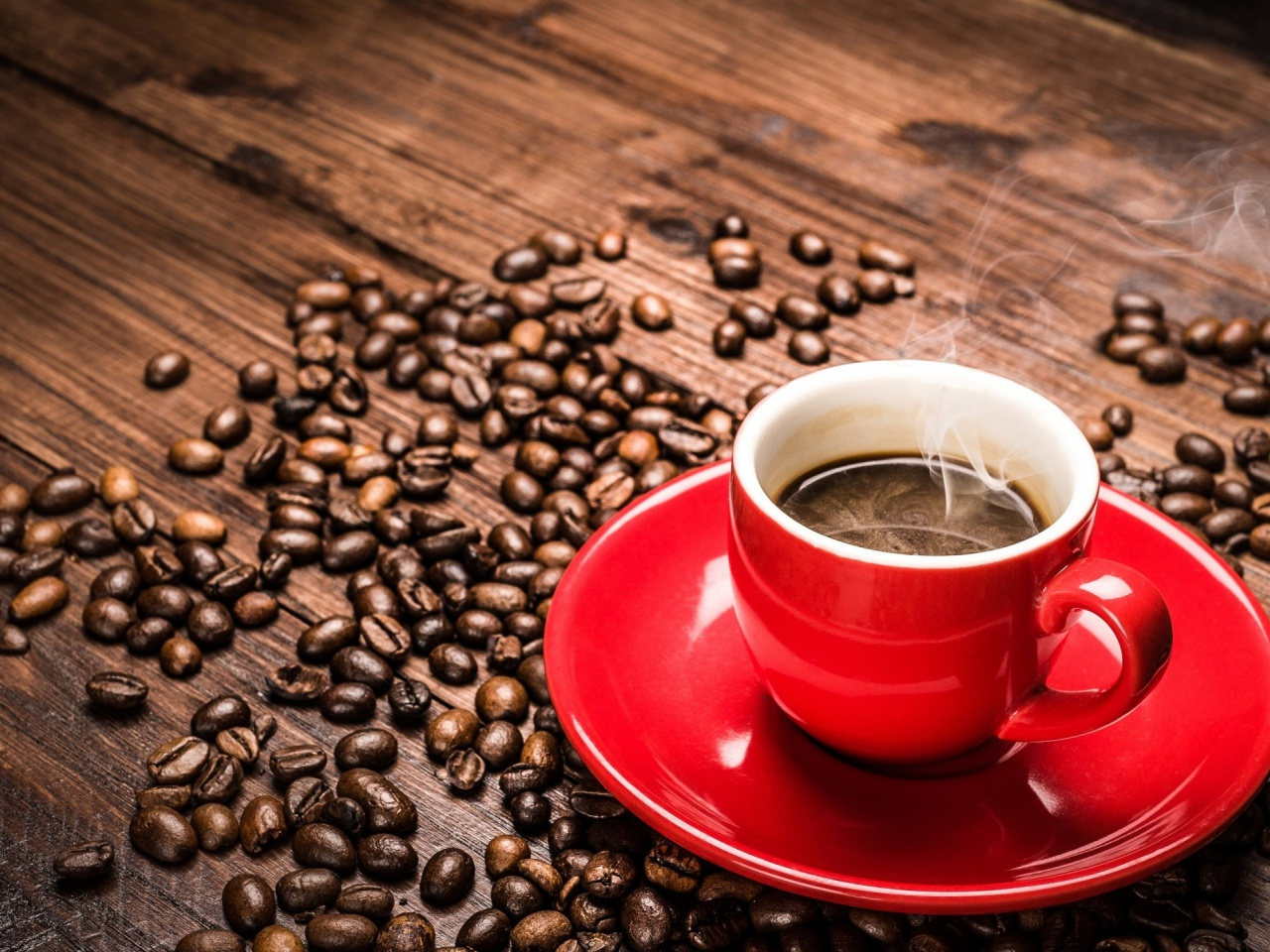 Coffee cup for mac - 1280x960 Red Coffee Cup And Coffee Beans Desktop Pc And Mac Wallpaper