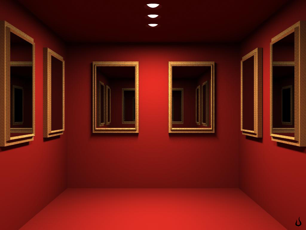 Zimmer Tapete 1024x768 Red Mirrored Room Desktop Pc And Mac Wallpaper