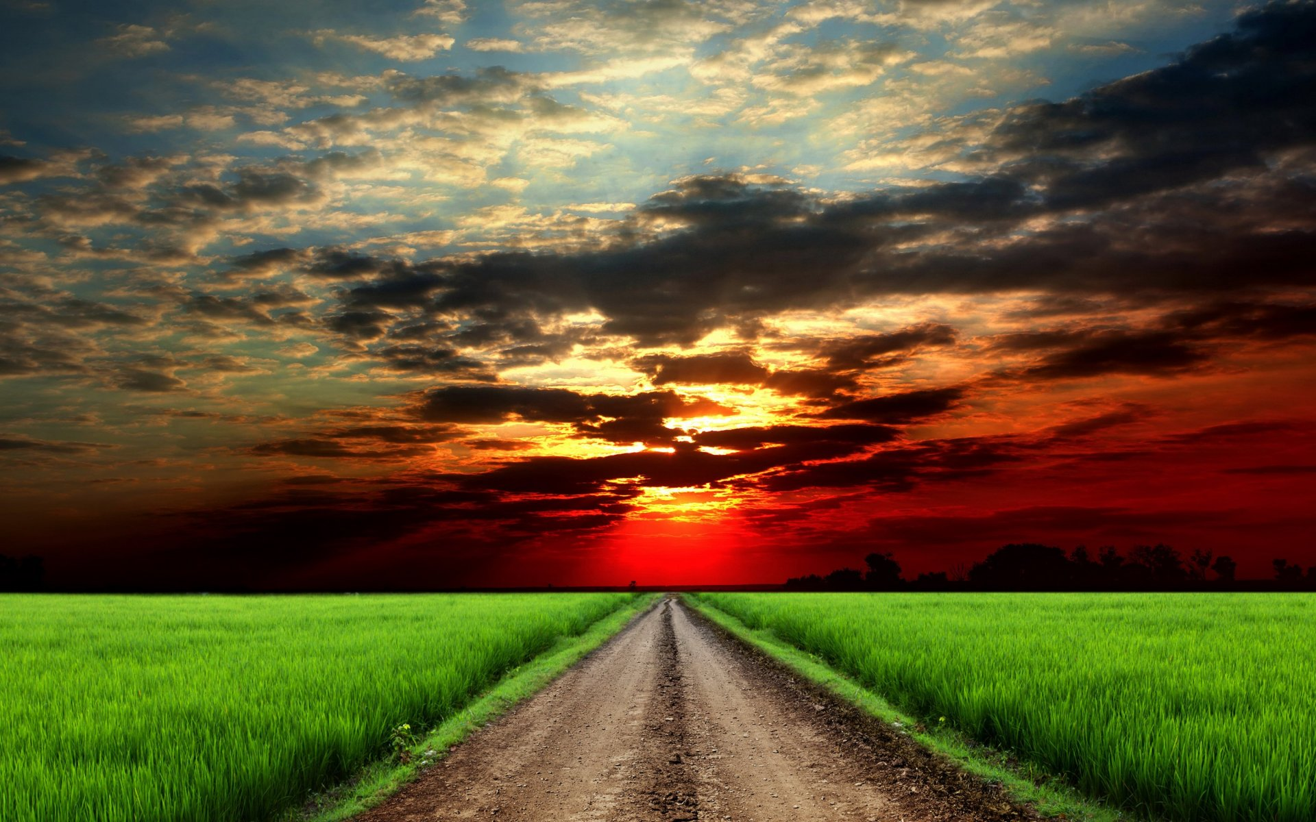 3d Animated Nature Wallpaper For Mobile Red Sunset Clouds Fields Road Wallpapers Red Sunset