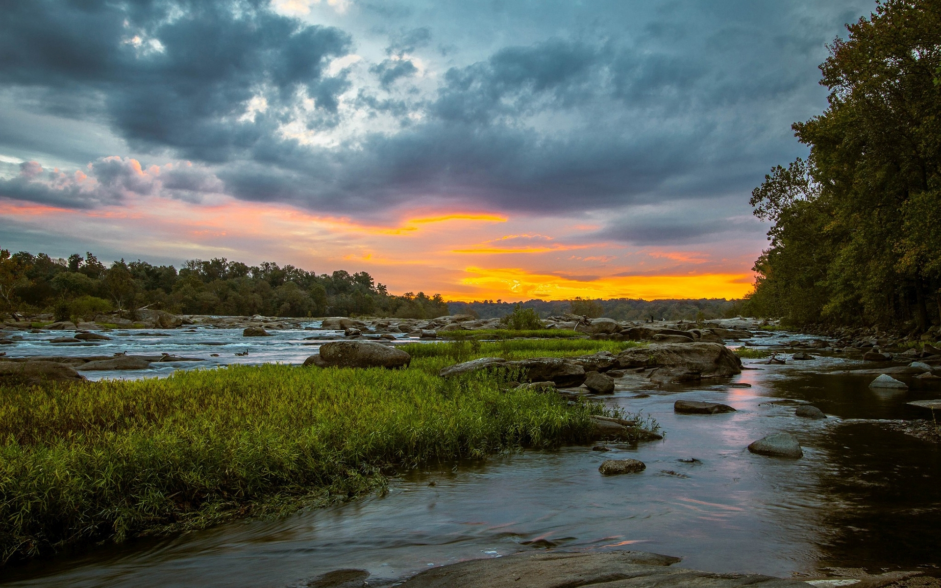 Animated Waterfall Wallpapers For Mobile River Grass Rocks Trees Sunset Wallpapers River Grass