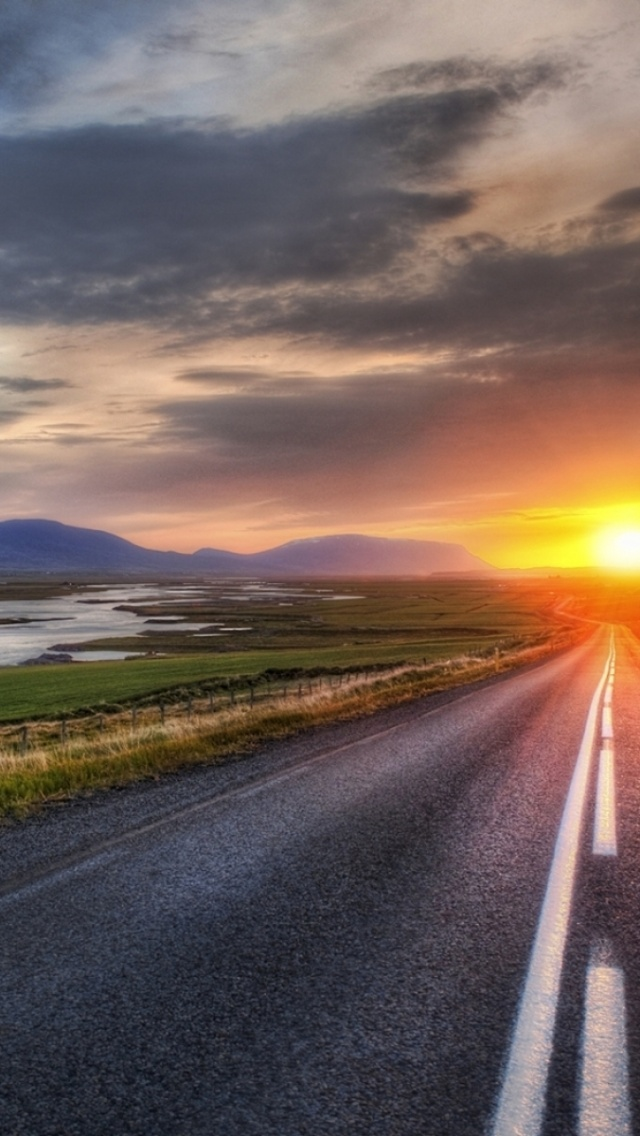How To Set Wallpaper On Iphone X 640x1136 Road Scenery Horizon Amp Sunset Iphone 5 Wallpaper