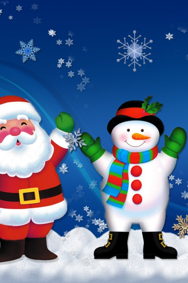 Wallpaper Cute Iphone 640x960 Santa And Snowman Iphone 4 Wallpaper