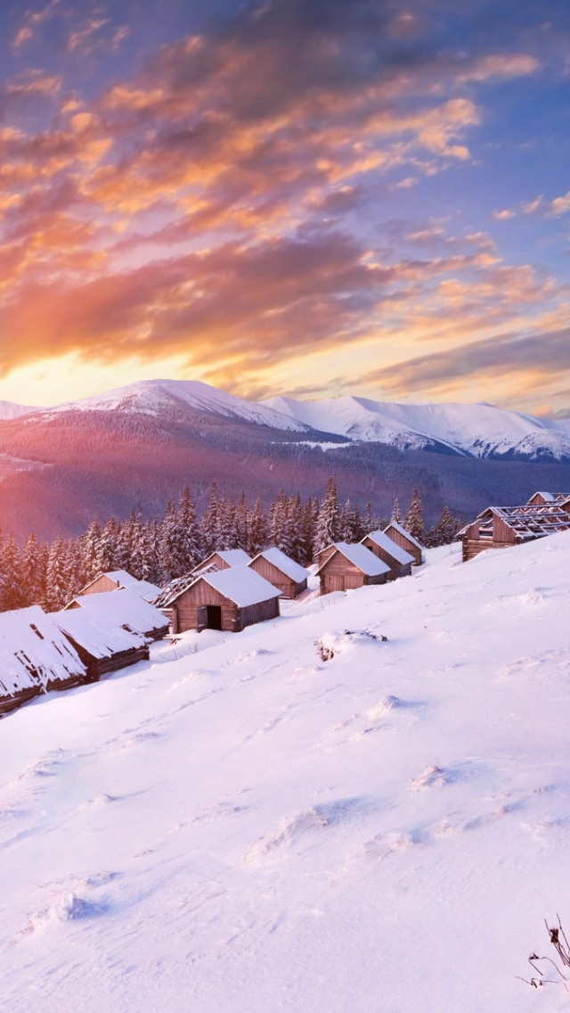 Snow Wallpaper Iphone 5 640x1136 Snow Peaks Cabins Trees Sunset Iphone 5 Wallpaper