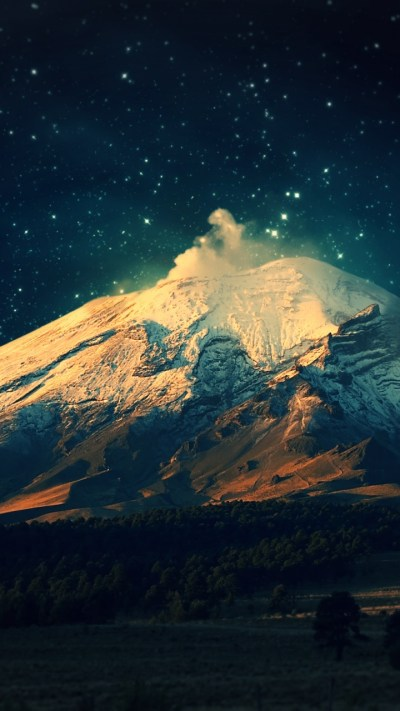 720x1280 Snowy Mountain Starry Sky Galaxy s3 wallpaper