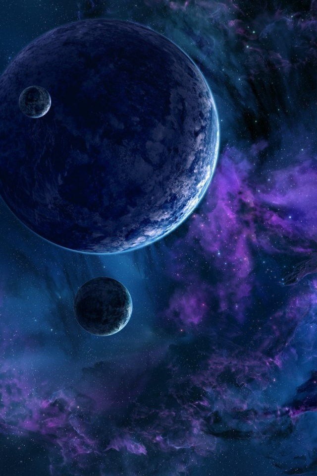 Iphone X Wallpaper Space 640x960 Space Planets Nebula Blue Lila