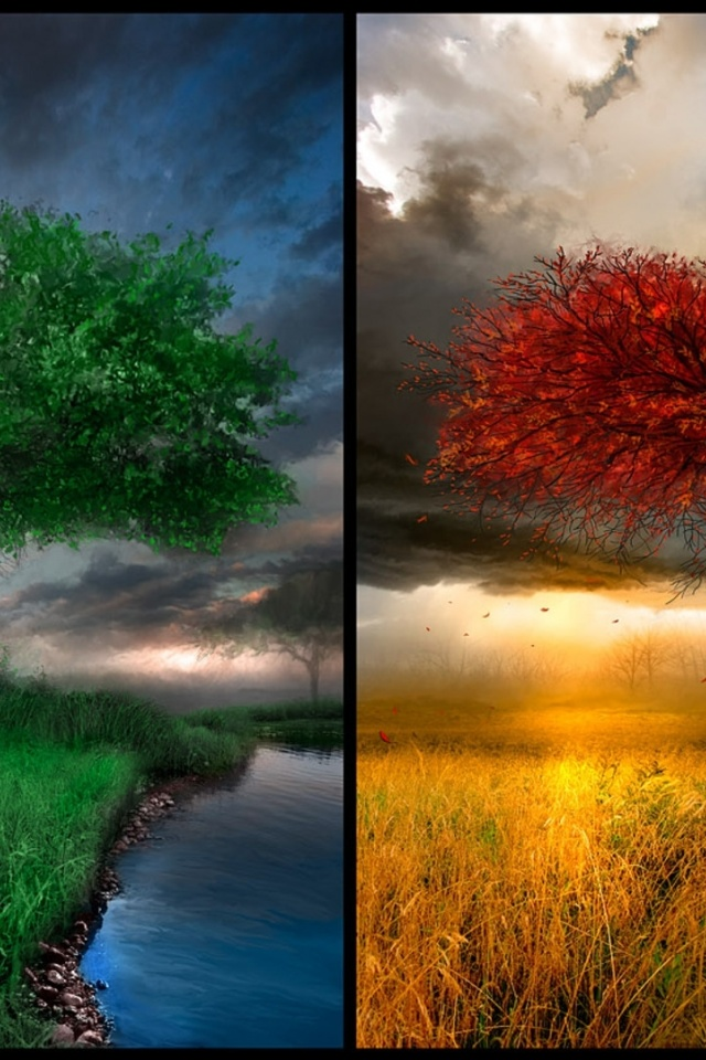 3d Iphone Wallpapers Free 640x960 The Four Seasons Digital Art Iphone 4 Wallpaper