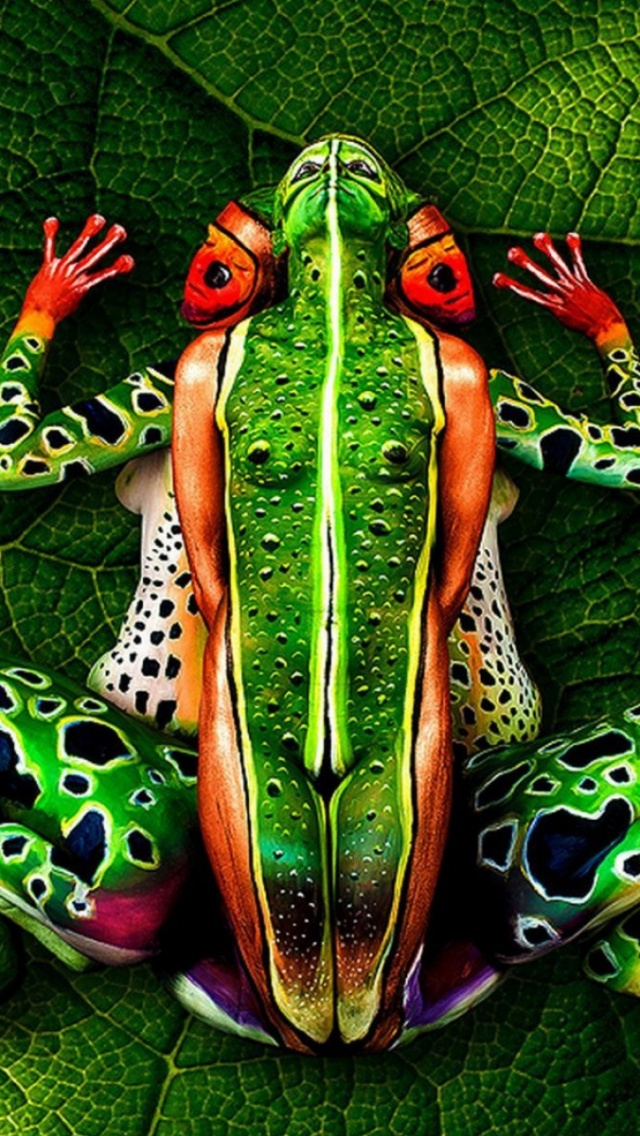 640x1136 The Frog Body Painting Iphone 5 wallpaper - frog body