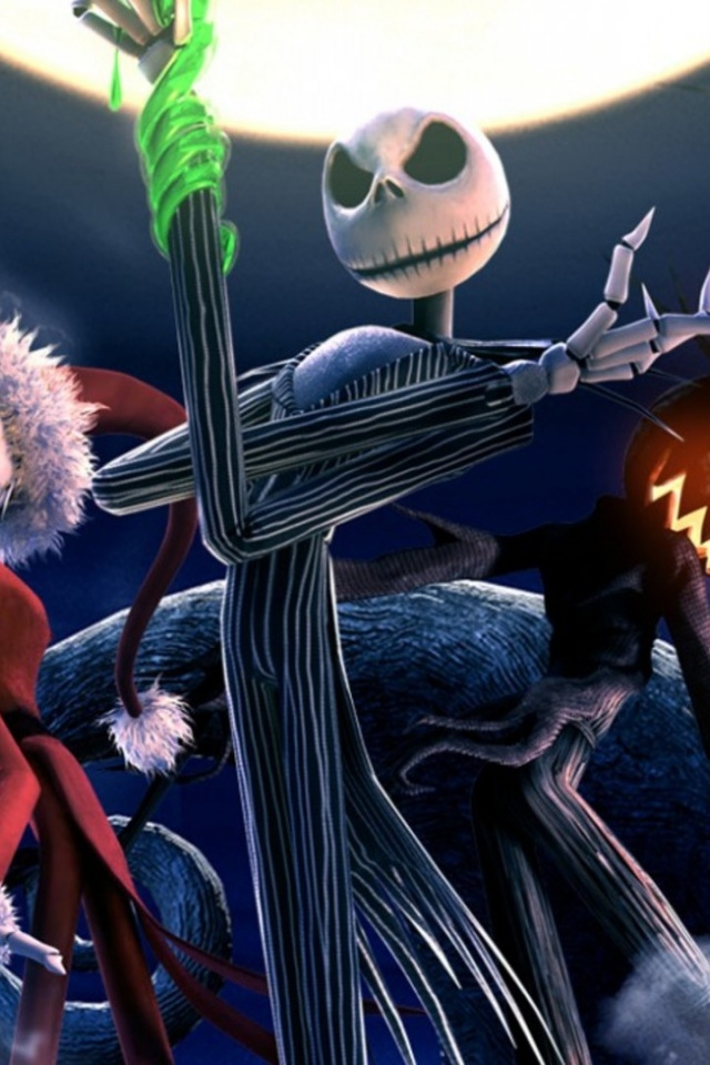 Jack And Sally Wallpaper Hd 640x960 The Nightmare Before Christmas Skeletons Iphone 4