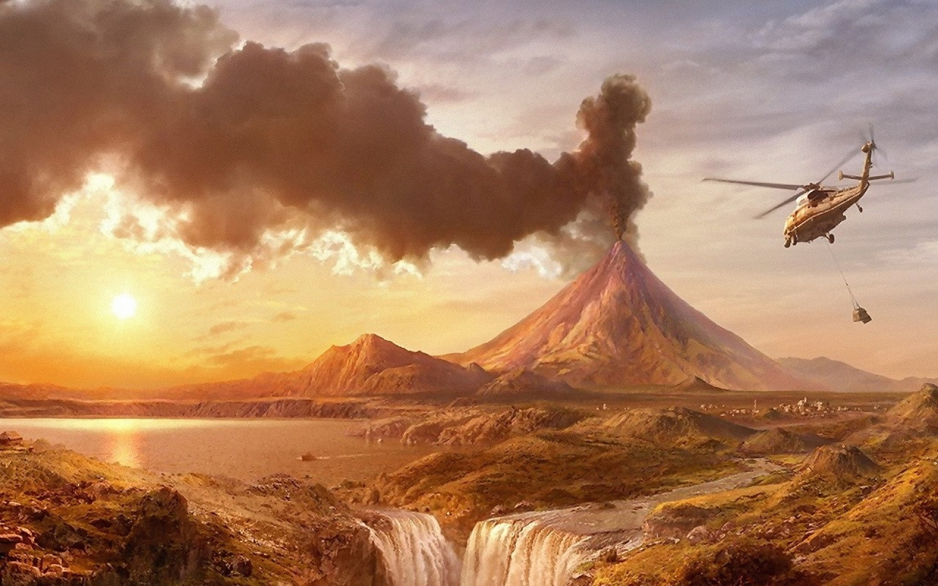 3d Angel Wallpapers Free Volcano Helicopter Amp Scenery Wallpapers Volcano